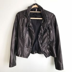 Free People Black Leather Distressed Jacket